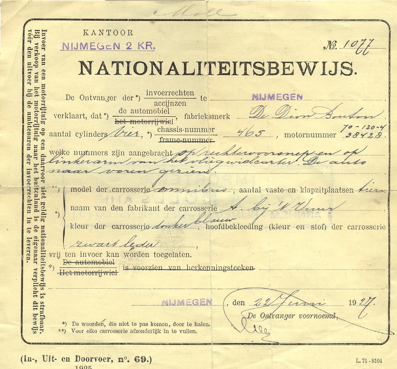 nationaliteitsbewijs-de-dion-bouton-1927